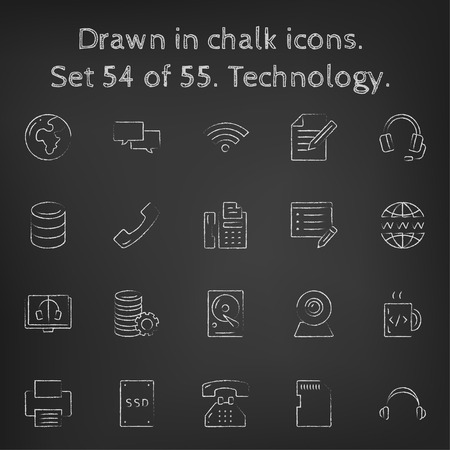 solid state drive: Technology icon set hand drawn in chalk on a blackboard vector white icons on a black background. Illustration