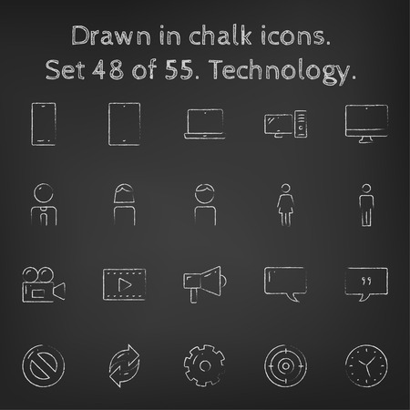 Technology icon set hand drawn in chalk on a blackboard vector white icons on a black background. Illusztráció