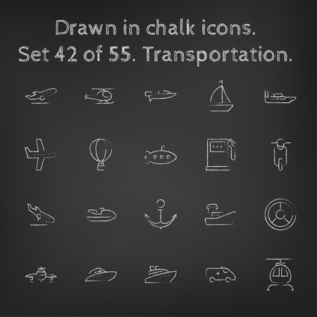 Transpotration icon set hand drawn in chalk on a blackboard vector white icons on a black background. 向量圖像