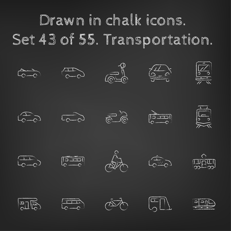 Transpotration icon set hand drawn in chalk on a blackboard vector white icons on a black background. Иллюстрация