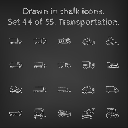 Transpotration アイコンは、黒の背景に黒板白ベクトル アイコンにチョークで描かれた手を設定します。