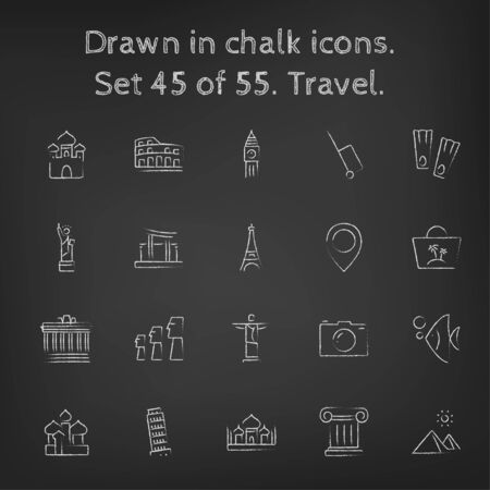 moai: Travel icon set hand drawn in chalk on a blackboard vector white icons on a black background. Illustration