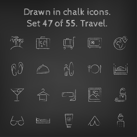 Travel icon set hand drawn in chalk on a blackboard vector white icons on a black background. Illustration