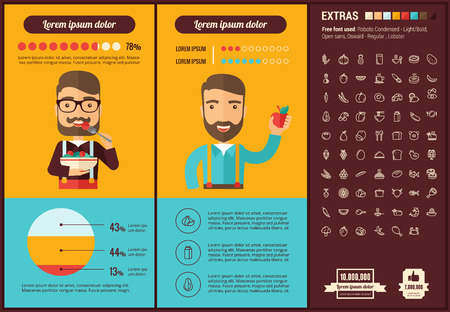 eating fruits: Healthy Food infographic template and elements. The template includes illustrations of hipster men and huge awesome set of thin line icons. Modern minimalistic flat vector design.