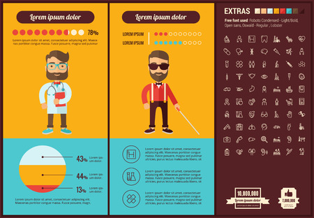 patient data: Medicine infographic template and elements. The template includes illustrations of hipster men and huge awesome set of thin line icons. Modern minimalistic flat vector design.