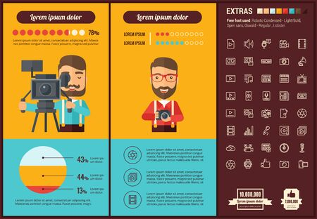 Media infographic template and elements. The template includes illustrations of hipster men and huge awesome set of thin line icons. Modern minimalistic flat vector design. Illustration