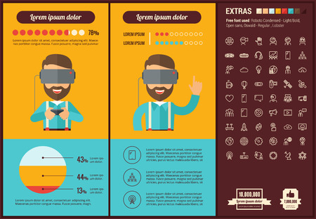 eyewear: Virtual Reality infographic template and elements. The template includes illustrations of hipster men and huge awesome set of thin line icons. Modern minimalistic flat vector design.