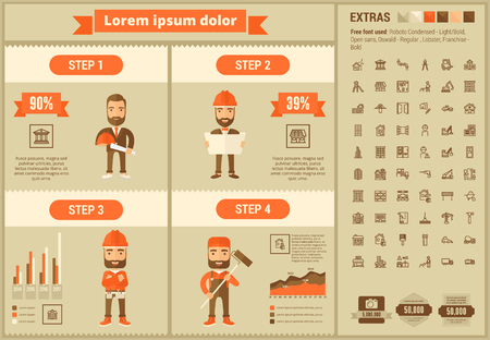 building site: Construction infographic template and elements. The template includes illustrations of hipster men and huge awesome set of thin line icons. Modern minimalistic flat vector design.
