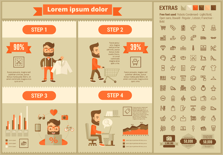 purchase: Shopping infographic template and elements. The template includes illustrations of hipster men and huge awesome set of thin line icons. Modern minimalistic flat vector design. Illustration