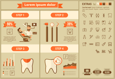 cleanliness: Stomatology infographic template and elements. The template includes illustrations of hipster men and huge awesome set of thin line icons. Modern minimalistic flat vector design. Illustration