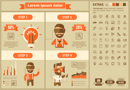 Virtual Reality infographic template and elements. The template includes illustrations of hipster men and huge awesome set of thin line icons. Modern minimalistic flat vector design.