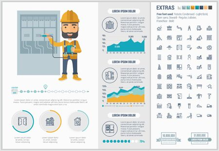 property: Construction infographic template and elements. The template includes illustrations of hipster men and huge awesome set of thin line icons. Modern minimalistic flat vector design.