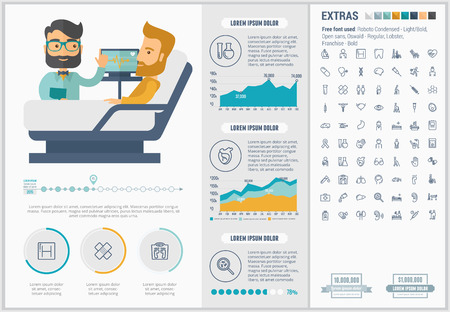 Medicine infographic template and elements. The template includes illustrations of hipster men and huge awesome set of thin line icons. Modern minimalistic flat vector design.