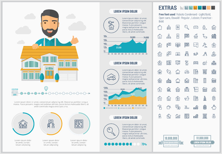 Real Estate infographic template and elements. The template includes illustrations of hipster men and huge awesome set of thin line icons. Modern minimalistic flat vector design. Иллюстрация
