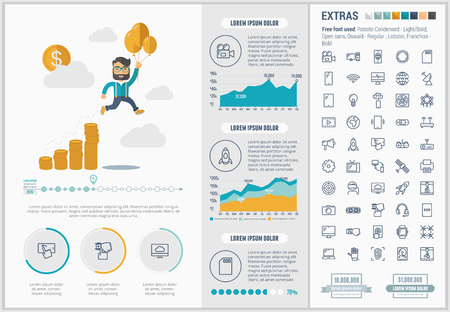 set template: Start up infographic template and elements. The template includes illustrations of hipster men and huge awesome set of thin line icons. Modern minimalistic flat vector design.