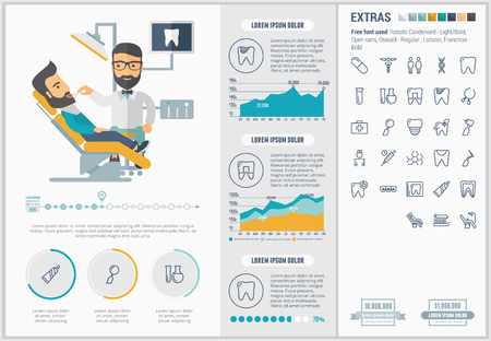Stomatology infographic template and elements. The template includes illustrations of hipster men and huge awesome set of thin line icons. Modern minimalistic flat vector design. Vettoriali