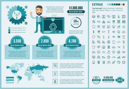 three d: Three D printing infographic template and elements. The template includes illustrations of hipster man and huge awesome set of thin line icons. Modern minimalistic flat vector design.