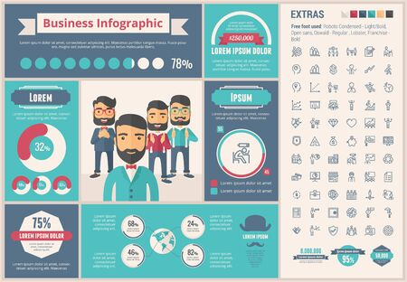 manager: Business infographic template and elements. The template includes illustrations of hipster men and huge awesome set of thin line icons. Modern minimalistic flat vector design.