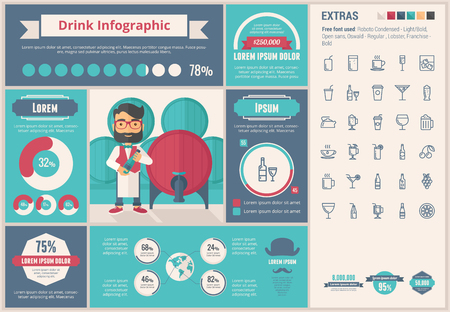 Drink infographic template and elements. The template includes illustrations of hipster men and huge awesome set of thin line icons. Modern minimalistic flat vector design.