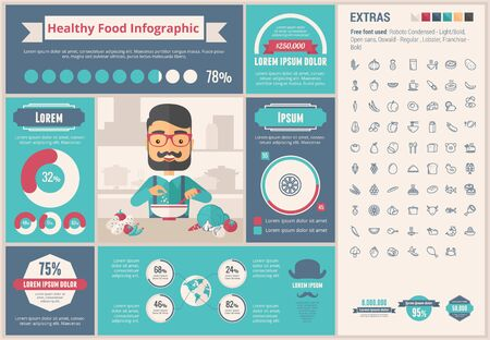 food: Healthy Food infographic template and elements. The template includes illustrations of hipster men and huge awesome set of thin line icons. Modern minimalistic flat vector design.