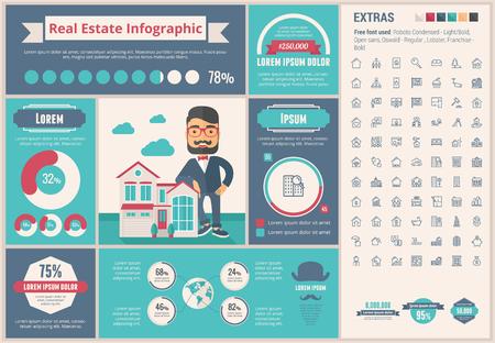 Immobilier modèle et éléments infographiques. Le modèle comprend des illustrations des hommes hipster et vaste ensemble impressionnant d'icônes de lignes minces. Design moderne de vecteur plat minimaliste. Illustration