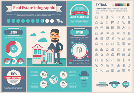 Real Estate infographic template and elements. The template includes illustrations of hipster men and huge awesome set of thin line icons. Modern minimalistic flat vector design. Stock Illustratie
