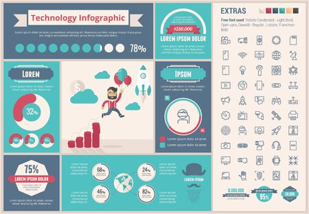 computer icons: Technology infographic template and elements. The template includes illustrations of hipster men and huge awesome set of thin line icons. Modern minimalistic flat vector design.