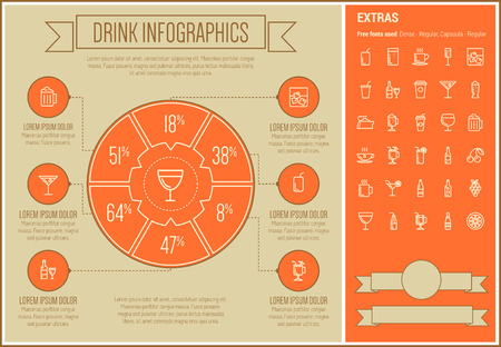liquors: Drink infographic template and elements. The template includes the following set of icons - champagne, orange jiuce, hot choco, liquor, martini, tea, shake and more. Modern minimalistic flat thin line vector design. Orange background with white line eleme Illustration