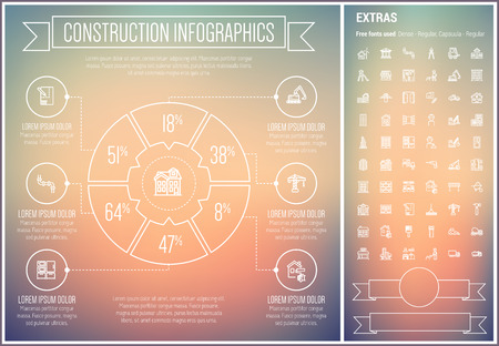 construction equipment: Construction infographic template and elements. The template includes the following set of icons - house structure, hardhaty, road barrier, bridge, crane and more. Modern minimalistic flat thin line vector design. Gradient mesh background with white line