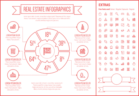 Real Estate infographic template and elements. The template includes the following set of icons - Real estate agent, seminar, training, investment, for sale placard and more. Modern minimalistic flat thin line vector design. Beige background with red line Иллюстрация