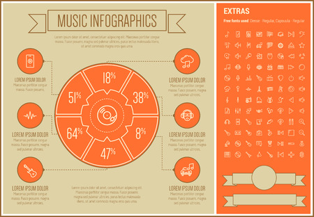 Music infographic template and elements. The template includes the following set of icons - trumpet, disco light, organ, tuner, digital equalizer, xylophone, vibraphone and more. Modern minimalistic flat thin line vector design. Orange background with whi Ilustração