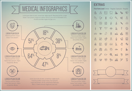 defibrillator: Medical infographic template and elements. The template includes the following set of icons - crutches, medical symbol, test tube, tooth implant, defibrillator, stethoscope and more. Modern minimalistic flat thin line vector design. Grey background with g Illustration
