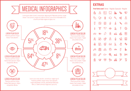 Medical infographic template and elements. The template includes the following set of icons - stethoscope, adhesive bandage, medical symbol, bacteria, medicine and cup and more. Modern minimalistic flat thin line vector design. Beige background with red l