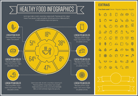 plate of food: Healthy Food infographic template and elements. The template includes the following set of icons - pumpkin, pineapple, potato, grape, banana, pork, chicken and more. Modern minimalistic flat thin line vector design. Yellow background with black line eleme Illustration