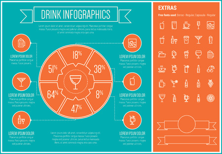 Drink infographic template and elements. The template includes the following set of icons - coffee, whisky, wine, cocktail, water, shake, hot choco and more. Modern minimalistic flat thin line vector design. Blue and orange background with white line elem
