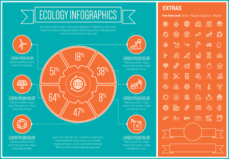 Ecology infographic template and elements. The template includes the following set of icons - electric, car, gas pump, windmill, solar panel, turbine, factory, trash can and more. Modern minimalistic flat thin line vector design. Blue and orange backgroun