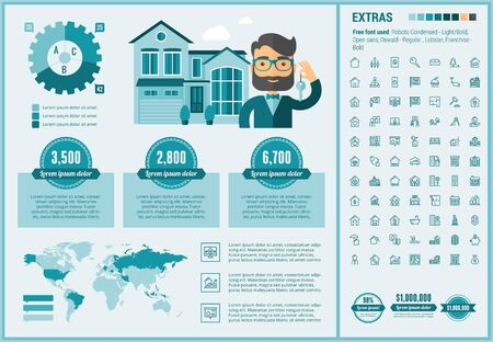 resale: Real Estate infographic template and elements. The template includes illustrations of hipster men and huge awesome set of thin line icons. Modern minimalistic flat vector design. Illustration