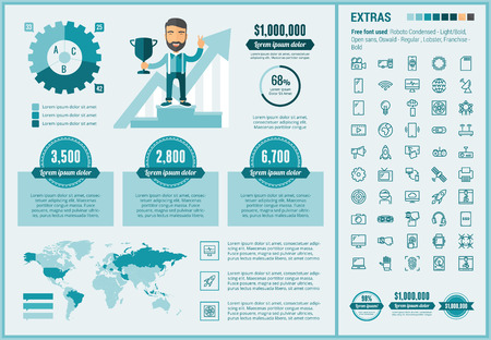 modern: Start up infographic template and elements. The template includes illustrations of hipster men and huge awesome set of thin line icons. Modern minimalistic flat vector design.