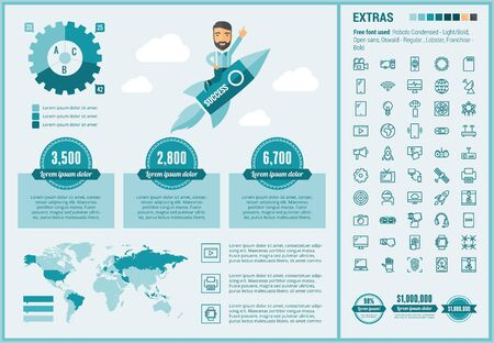 Technology infographic template and elements. The template includes illustrations of hipster men and huge awesome set of thin line icons. Modern minimalistic flat vector design.