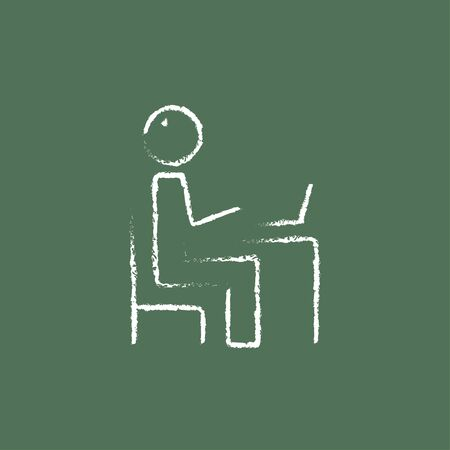 connectivity: Businessman working at his laptop hand drawn in chalk on a blackboard vector white icon isolated on a green background.