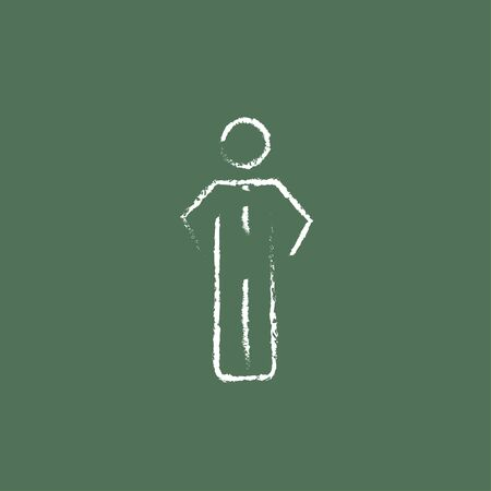 fullbody: Businessman standing hand drawn in chalk on a blackboard vector white icon isolated on a green background.