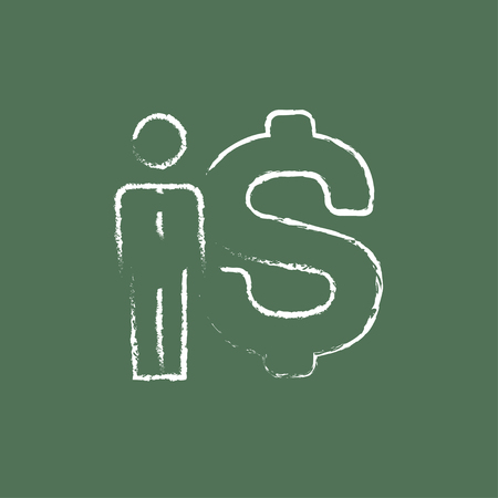 fullbody: Businessman standing beside the dollar symbol hand drawn in chalk on a blackboard vector white icon isolated on a green background.