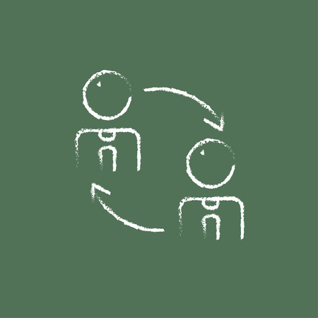 turnover: Staff turnover hand drawn in chalk on a blackboard vector white icon isolated on a green background.