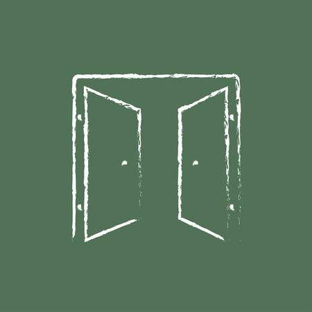 double entry: Open doors hand drawn in chalk on a blackboard vector white icon isolated on a green background.