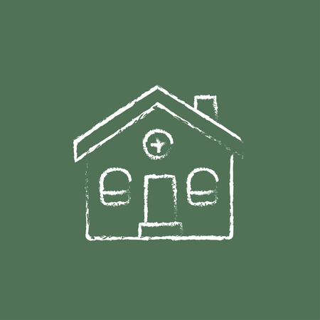 Detached house hand drawn in chalk on a blackboard vector white icon isolated on a green background. Ilustracja