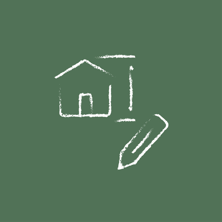 paper art projects: House design hand drawn in chalk on a blackboard vector white icon isolated on a green background.
