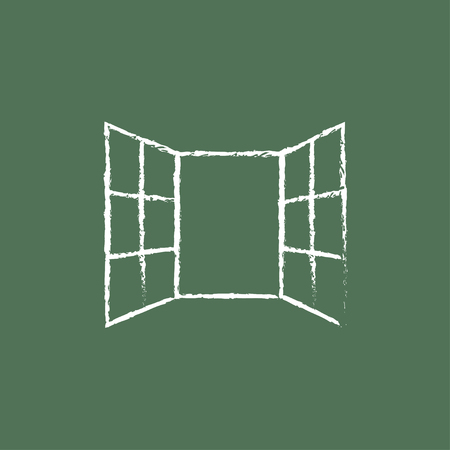 Open windows hand drawn in chalk on a blackboard vector white icon isolated on a green background. Illustration