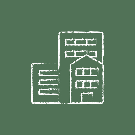 Residential buildings hand drawn in chalk on a blackboard vector white icon isolated on a green background.