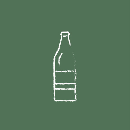 scotch: Glass bottle hand drawn in chalk on a blackboard vector white icon isolated on a green background.