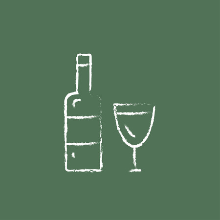 bourbon whisky: A bottle and a glass hand drawn in chalk on a blackboard vector white icon isolated on a green background. Illustration